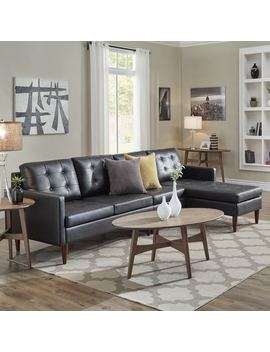 Shawna Black Button Tufted Leather Gel Sofa Sectional With Chaise By I Nspire Q Modern by I Nspire Q