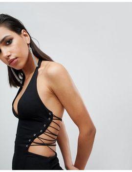 Asos Design Halter Lace Up Maxi Dress by Asos Design