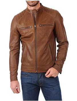 Excentoutwear Men's Lambskin Leather Bomber Biker Jacket by Excentoutwear