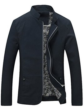 Vogstyle Men's Stand Collar Jacket Casual Slim Fit Lightweight Bomber Coat by Vogstyle