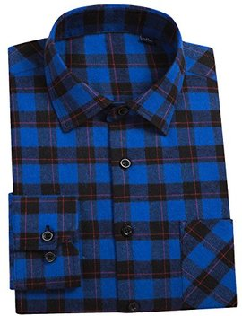 Dokkia Men's Button Down Buffalo Plaid Checked Long Sleeve Flannel Shirts by Dokkia