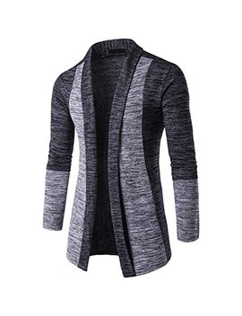 Photno Boys Mens Cardigan Sweaters Long Knitwear Cardigan Knit Coat Jacket Outwear (Xxl, Dark Gray) by Photno
