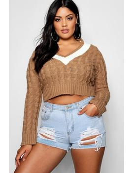 Plus V Neck Trim Cable Knit Crop Jumper by Boohoo
