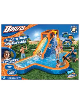 Banzai Slide 'N Soak Splash Park Constant Air Water Slide (Nearly 8ft Tall And Includes Blower Motor) by Banzai