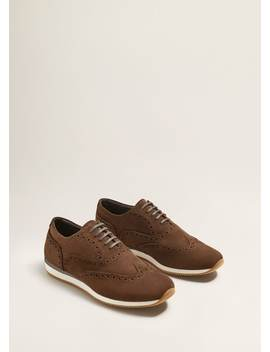 Contrast Sole Leather Sport Shoes by Mango