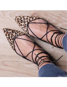 Zara Leopard Lace Up Ballerinas Ballet Flats Shoes Skinny Hair 5317/001 39/8/6 by Ebay Seller