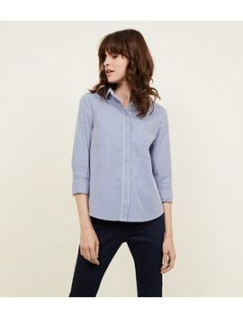 Blue Stripe Curved Hem Shirt by New Look
