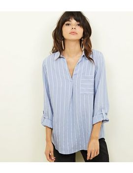 Blue Stripe Pocket Front Shirt by New Look