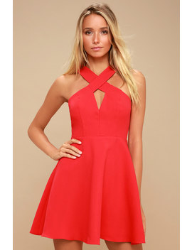 Norma Coral Red Skater Dress by Lulu's