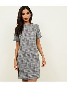 Grey Check Side Stripe Jersey Tunic Dress by New Look