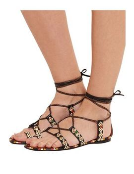 Lace Up Painted Textured Leather Sandals by Valentino