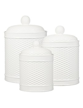 Home Essentials & Beyond Weave Canister (Set Of 3) In White by Bed Bath And Beyond