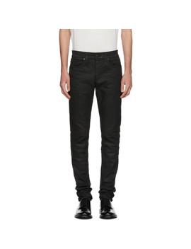 Black Coated Skinny Jeans by Saint Laurent
