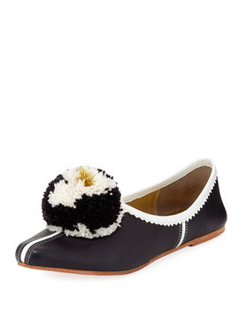 Ines Leather Pompom Flat by Figue