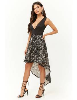 Floral Lace High Low Dress by Forever 21