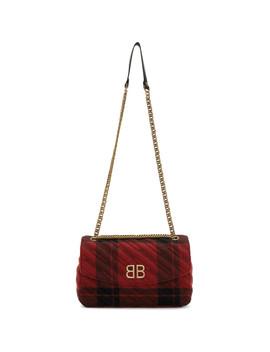 Red & Black Medium Plaid Bb Round Bag by Balenciaga