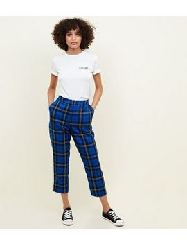 Blue Tartan Check Slim Leg Trousers by New Look