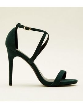 Dark Green Suedette Strappy Stiletto Heel Sandals by New Look
