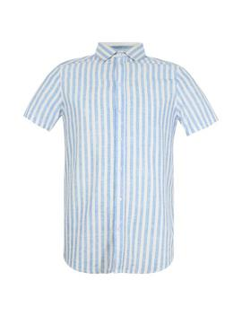 Block Stripe Short Sleeve Revere Shirt by Boohoo
