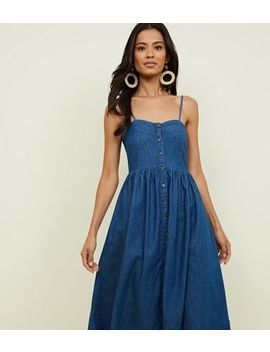 Blue Rinse Wash Button Up Denim Midi Dress by New Look