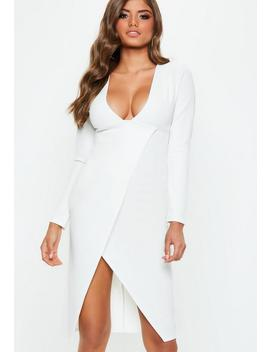 White Plunge Long Sleeve Wrap Midi Dress by Missguided
