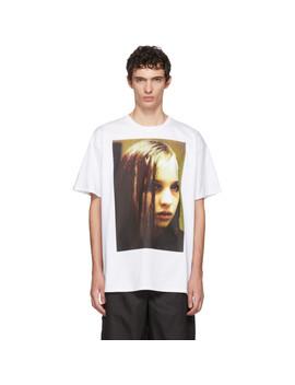 White Christiane F. Edition Wet Hair T Shirt by Raf Simons