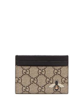 Gg Supreme Bee Print Canvas Cardholder by Gucci