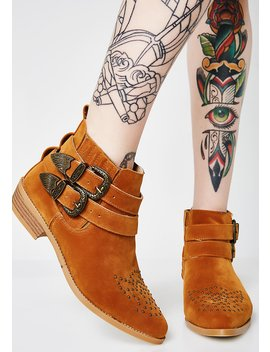 Camel Cowgirl Kisses Studded Booties by Ml