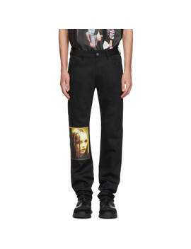 Black Christiane F. Edition Wet Hair Patch Regular Jeans by Raf Simons