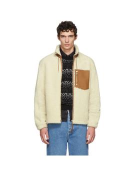 White & Tan Shearling Blouson Jacket by Loewe