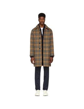 Yellow Alpaca & Wool Check Camden Coat by Burberry