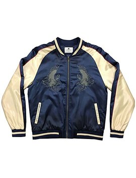 Standard Issue Embroidered Tonal Eagle Souvenir Bomber Varsity Jacket   Navy/Gold by Standard Issue