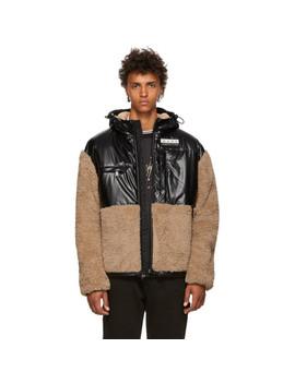 Khaki & Black Coated Sherpa Jacket by Alexander Wang