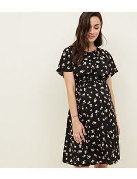 Maternity Black Floral Shirred Waist Dress by New Look