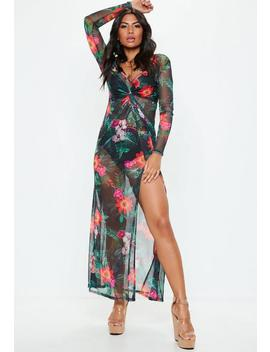Black Floral Thigh Split Sheer Mesh Maxi Dress by Missguided