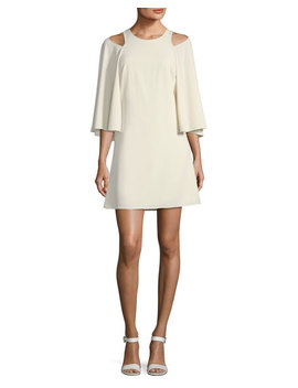 Bell Sleeve Shift Cocktail Dress W/ Cutouts by Halston Heritage