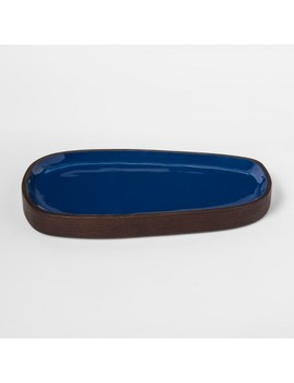 Enamel And Wood Tray   Teal   Project 62™ by Shop Collections