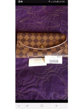 Authentic Louis Vuitton Damier Ebene Caissa Wallet Rose Ballerine Interior by Louis Vuitton