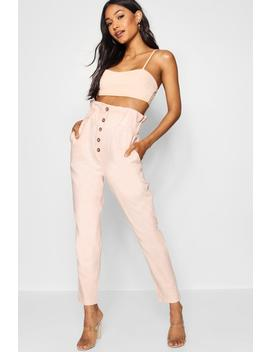 Linen Look Paperbag Waist Trousers by Boohoo