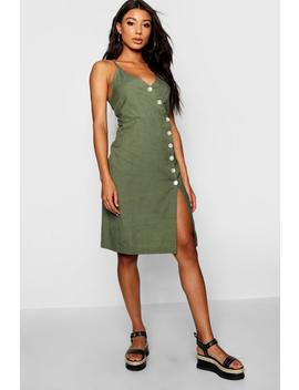Lucia Strappy Button Front Midi Dress by Boohoo