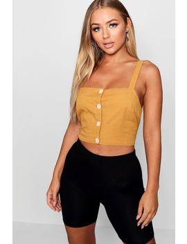 Sqaure Neck Button Front Crop Top by Boohoo