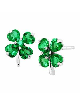Shamrock Clover Stud Earrings With Green Cubic Zirconia In Sterling Silver by Finecraft