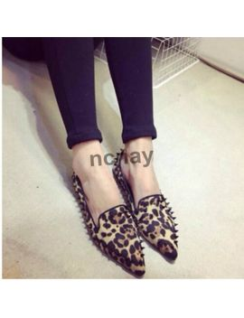 Punk Women's Flat Shoes Slip On Pointy Toe Leopard Print Casual Rivet Shoes Nc01 by Ebay Seller