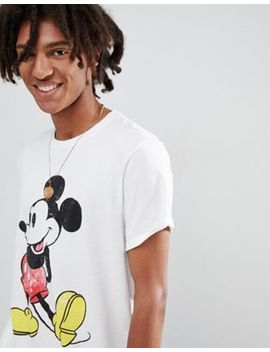 Asos Design Mickey Relaxed T Shirt With Vintage Print And Roll Sleeve by Asos