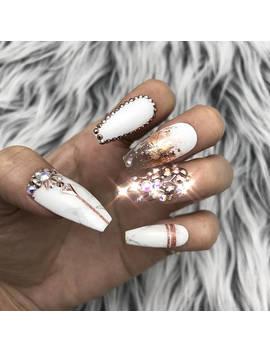 Rose Gold White Marble Swarovski Crystal Nail | Press On Nails | Fake Nails | False Nails | Glue On Nails | Bridal Nails | The Nailest by Etsy