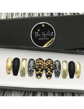 Black Egyptian Princess Swarovski Crystal Gold Foil | Press On Nails | Any Shape | Fake Nails | False Nails | Glue On Nails | The Nailest by Etsy