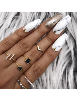 Black White Marble Gold Foil Leaf/Studs Press On Nails |Any Shape | Fake Nails | False Nails | Glue On Nails by Etsy