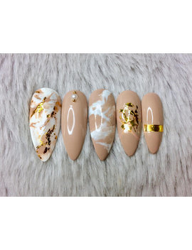 Nude Details | Custom Any Shape Press On Nails Set | Prom Graduation | Marble Foil Leaf Chrome Shreds | Gold Nude Beige White | Fake Nails by Etsy