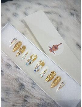 Golden Uniklaws X False Nails, Press On Nails, Unicorn Nails, Drag Nails, Gold, Swarovski by Etsy
