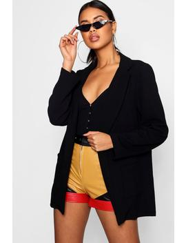 Longline Collared Blazer by Boohoo